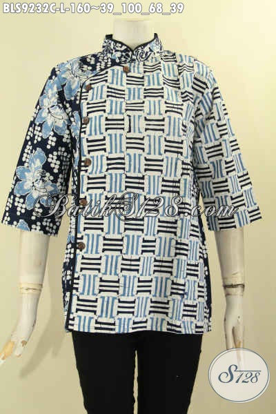Jual Batik Blouse Wanita Terkini Untuk Kerja Ataupun Acara Resmi, Berbahan Halus Motif Bagus Model Kerah Shanghai Kombinasi Plesir Polos Nan Berkelas [BLS9232C-L]