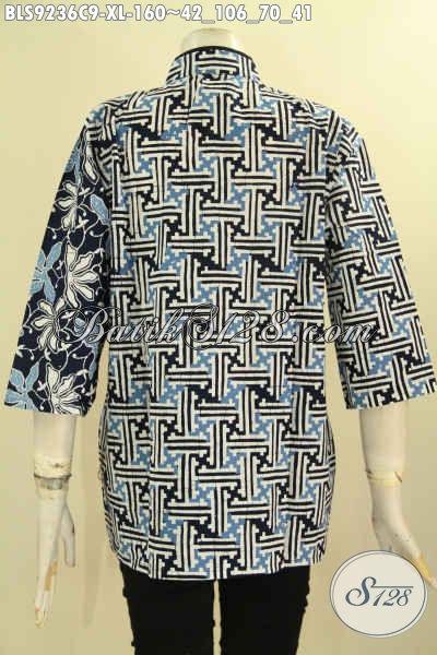 Pakaian Batik Blouse Terbaru Untuk Wanita Kerja, Bahan Halus Motif Terkini Model Kerah Shanghai Kombinasi Plesir Polos, Tampil Cantik Dan Mewah Hanya 160K [BLS9236C-XL]