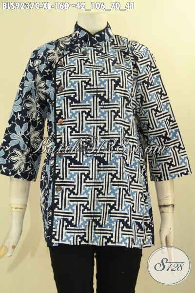 Blouse Batik Kerja Kantor Wanita Dewasa, Hadir Dengan Dual Motif Desain Kerah Shanghai Plesir Polos Lengan 3/4 Kancing Depan, Tampil Modis Dan Kekinian [BLS9237C-XL]