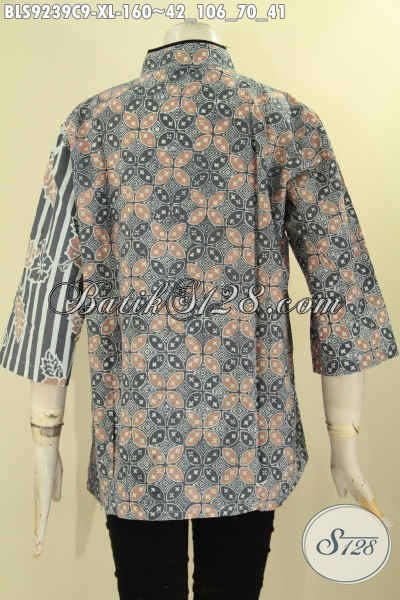 Model Baju Blouse Batik Wanita Terkini, Hadir Dengan Kerah Shanghai Lengan 3/4 Bahan Halus Motif Trendy Kombinasi Plesir Polos [BLS9239C-XL]