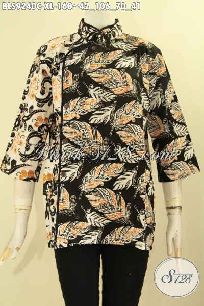 Jual Batik Blouse Istimewa Harga Terjangkau, Bahan Halus Model Kerah Shanghai Lengan 3/4 Kombinasi Plesir Polos Di Lengkapi Kancing Depan, Tampil Cantik Menawan [BLS9240C-XL]