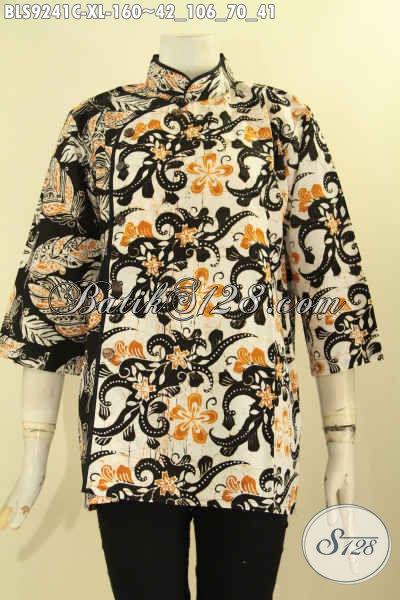 Model Baju Batik Solo Trendy Dual Motif Kekinian, Busana Blouse Batik Wanita Dewasa Kerah Shanghai Plesir Polos Yang Menujang Penampilan Sempurna Dan Percaya Diri [BLS9241C-XL]