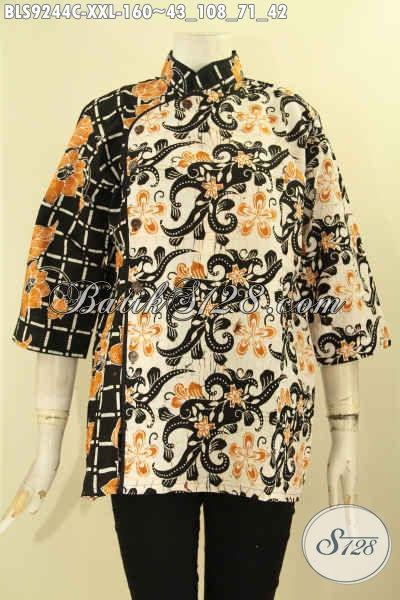 Busana Batik Lengan 3/4 Modis Exclusive Wanita Gemuk, Pakaian Batik Blouse Kerah Shanghai Kombinasi Plesir Polos Kancing Depan, Pas Buat Acara Resmi Dan Seragam Kerja [BLS9244C-XXL]