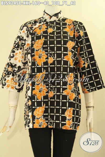 Blouse Batik Modern Kerah Shanghai Kwalitas Istimewa Bahan Halus Nyaman Di Pakai, Busana Batik Plesir Polos Kancing Depan Lengan 3/4 Spesial Buat Wanita Gemuk [BLS9245C-XXL]