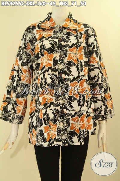 Batik Blouse Istimewa Spesial Buat Wanita Gemuk, Baju Batik Modern Motif Terkini Jenis Cap Model Kerah Lancip Lengan 7/8, Pas Banget Untuk Kerja [BLS9255C-XXL]