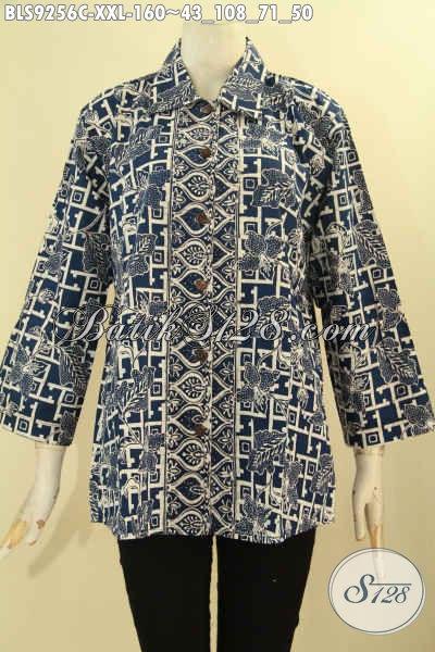 Olshop Busana Batik Wanita Terlengkap, Sedia Blouse Batik Jumbo Lengan 7/8 Kerah Model Lancip Pakai Kancing Depan, Tampil Lebih Elegan [BLS9256C-XXL]