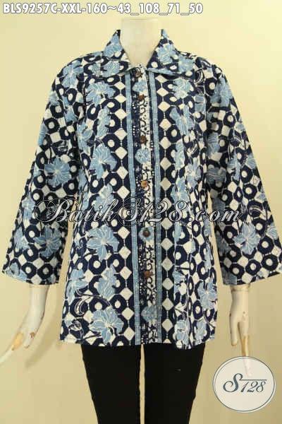 Pakaian Batik Wanita Motif Terbaru Desain Kekinian Kerah Lancip Lengan 7/8 Pakai Kancing Depan, Bisa Untuk Acara Santai Ataupun Resmi Exclusive Wanita Gemuk [BLS9257C-XXL]