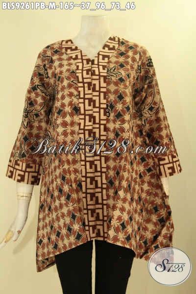 Batik Blouse Wanita Elegan Model A Terkini Lengan 7/8 Kerah V Bahan Halus Nyaman Di Pakai, Busana Batik Solo Kombinasi 2 Motif Pakai Kancing Depan Tampil Cantik Menawan [BLS9261PB-M]