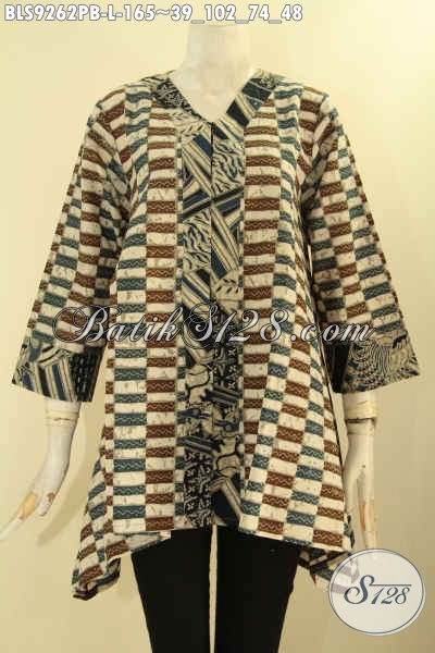 Blouse Batik Modern Kwalitas Istimewa Model A Lengan 7/8 Kerah V, Busana Baik Solo Untuk Wanita Kerja Dan Acara Resmi Dengan Kombinasi 2 Motif Bikin Penampilan Cantik Mempesona [BLS9262PB-L]