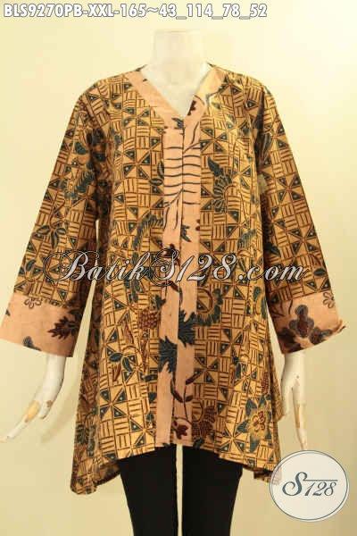 Baju Batik Atasan Wanita Modern Model A Kerah V, Baju Batik Blouse Perempuan Gemuk Lengan 7/8 Kombinasi 2 Motif, Tampil Anggun Dan Cantik [BLS9270PB-XXL]