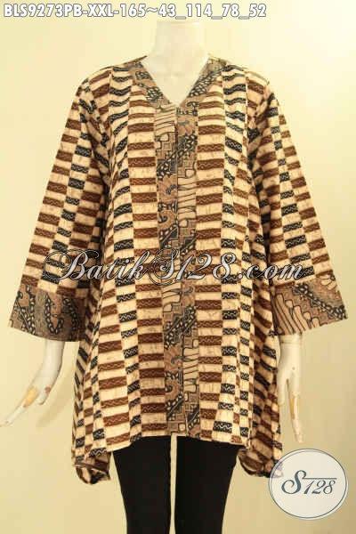 Jual Blouse Batik Wanita Gemuk Model A Kerah V, Pakaian Batik Kerja Nan Elegan Dan Modis Kombinasi 2 Motif Lengan 7/8, Penampilan Lebih Cantik Maksimal [BLS9273PB-XXL]