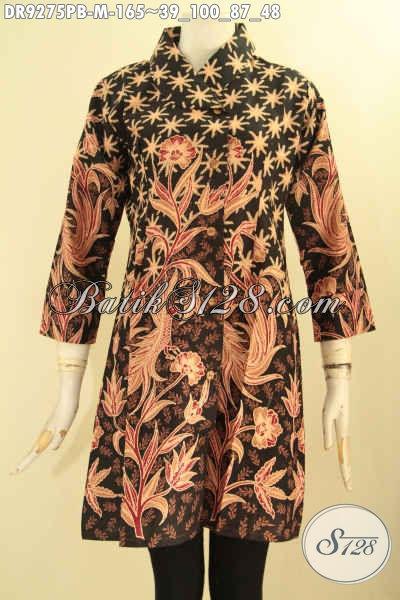 Dress Batik Wanita Muda Model Kekinian Lengan 7/8 Kerah Miring Di Lengkapi Kacing Depan, Cocok Buat Kerja Dan Acara Resmi Penampilan Anggun Dan Mempesona [DR9275PB-M]