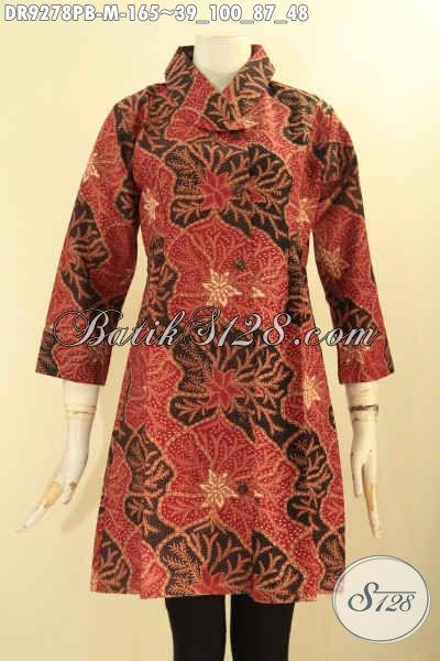 Pakaian Batik Dress Wanita Terbaik, Hadir Dengan Paduan Motif Dan Warna Berkelas Jenis Printing Cabut Pakai Kancing Depan Serta Lengan 7/8 [DR9278PB-M]