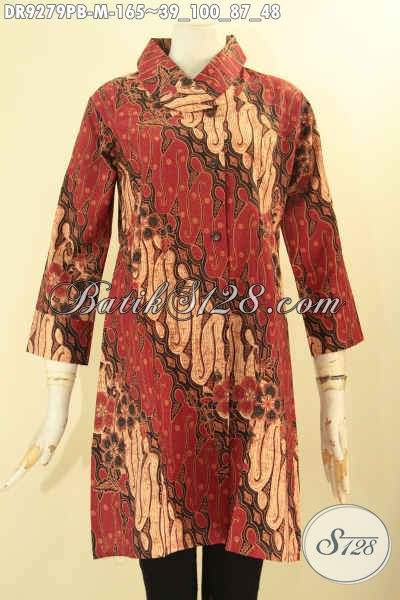 Dress Batik Elegan Motif Klasik Buatan Solo Asli, Pakaian Batik Modern Model Kerah Miring Lengan 7/8 Kancing Depan [DR9279PB-M]