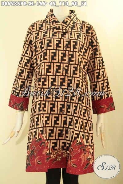 Produk Busana Wanita Terbaru, Dress Batik Elegan Motif Bagus Jenis Printing Cabut Hadir Dengan Model Kerah Miring Lengan 7/8 Pakai Kancing Depan [DR9285PB-XL]
