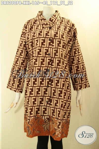 Dress Batik Solo Terkini Model Kerah Miring Lengan 7/8 Kancing Depan, Berbahan Halus Motif Elegan Jenis Printing Cabut, Wanita Gemuk Tampil Cantik Berkelas [DR9290PB-XXL]