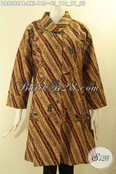 Batik Dress Kerah Miring Bahan Halus Nyaman Di Pakai, Baju Batik Wanita Gemuk Kancing Depan Lengan 7/8 Motif Elegan Printing Cabut, Pas Buat Kerja Kantoran [DR9292PB-XXL]