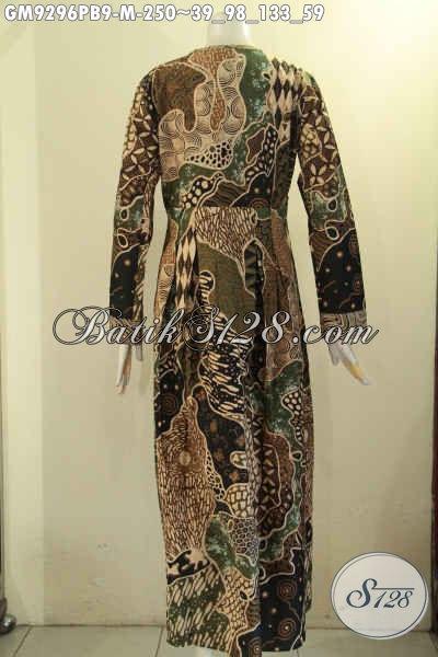 Jual Gamis Batik Perempuan Untuk Penampilan Cantik Mempesona, Busana Batik Solo Elegan Model Kancing Depan Kombinasi 2 Motif, Penampilan Cantik Berkelas [GM9296PB-M]