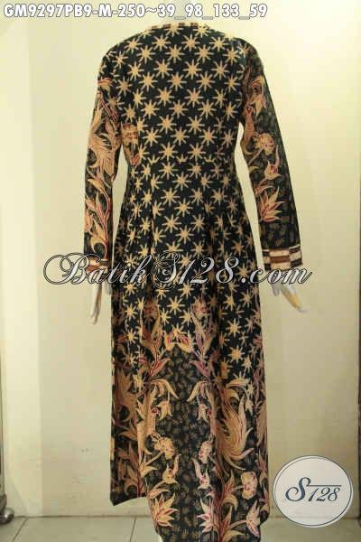 Jual Gamis Batik Tren Mode Terkini, Baju Batik Perempuan Berhijab Untuk Penampilan Cantik Anggun, Bahan Halus Kombinasi 2 Motif Lengan Panjang Kancing Depan [GM9297PB-M]
