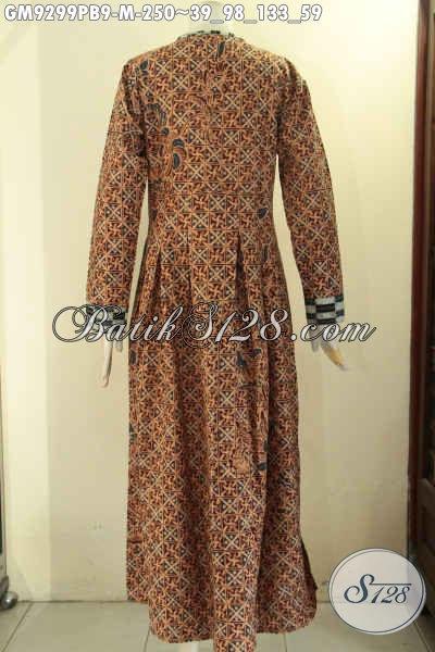 Gamis Batik Dual Motif Nan Berkelas, Long Dress Batik Wanita Desain Elegan Di Lengkapi Kancing Depan, Pilihan Terbaik Buat Kerja Maupun Acara Resmi [GM9299PB-M]