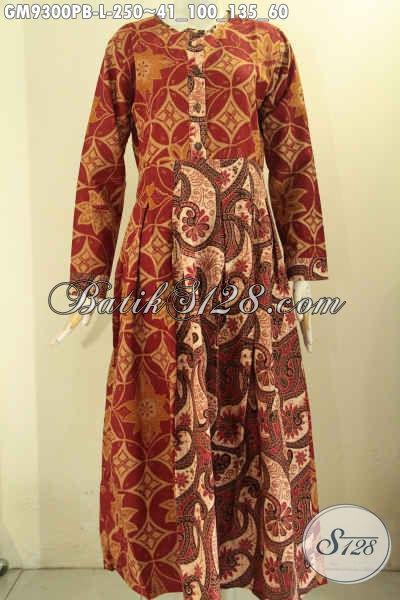 Baju Gamis Batik Nan Istimewa, Produk Gamis Batik Solo Lengan Panjang Kombinasi 2 Motif Jenis Printing Cabut Bahan Halus Nyaman Di Pakai, Cocok Buat Ngantor Dan Acara Formal [GM9300PB-L]