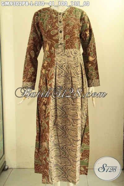 Baju Gamis Batik Solo Modis Lengan Panjang, Abaya Batik Istimewa Kombinasi 2 Motif Nan Berkelas Di Lengkapi Kancing Depan Tampil Cantik Kekinian [GM9302PB-L]
