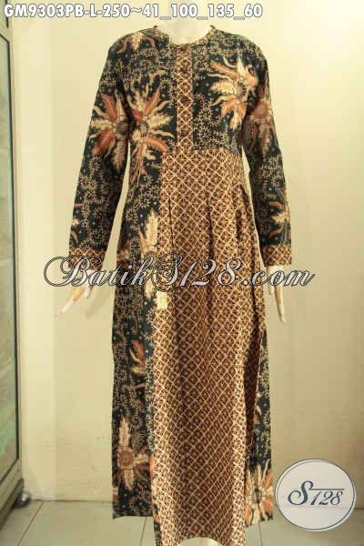 Batik Gamis Istimewa Lengan Panjang Size L, Baju Gamis Batik Istimewa Kombinasi 2 Motif Kwalitas Premium Di Lengkapi Kancing Depan, Tampil Cantik Menawan [GM9303PB-L]