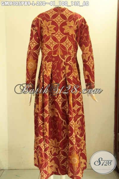Jual Online Gamis Batik Modern Desain Berkelas Kombinasi 2 Motif Kekinian, Pakaian Batik Wanita Berhijab Jenis Printing Cabut Model Lengan Panjang Pakai Kancing Depan Hanya 200 Ribuan [GM9305PB-L]