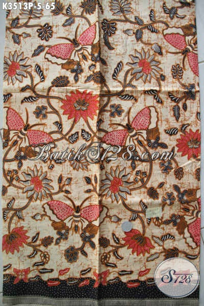 Jual Kain Batik Halus Buatan Solo Asli, Batik Printing Motif Terkini Bahan Busana Wanita Untuk Kerja Maupun Acara Resmi [K3513P-200x110cm]