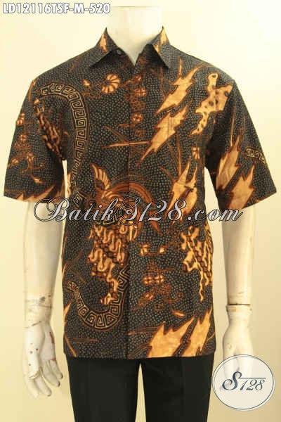 Busana Batik Kerja Pria Lengan Pendek Premium Tulis Soga Desain Kekinian, Pakaian Batik Modern Mewah Dengan Lapisan Furing, Pilihan Terbaik Untuk Tampil Istimewa [LD12116TSF-M]