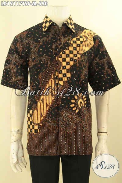 Model Baju Batik Pria Lengan Pendek Tulis Soga Dengan Pewarna Alami, Kemeja Batik Solo Asli Mewah Pakai Furing, Cowok Tampil Gagah Berkelas [LD12117TSF-M]