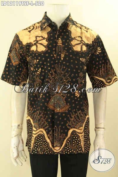 Pusat Baju Batik Solo Online Terlengkap, Sedia Kemeja Batik Tulis Soga Mewah Lengan Pendek Motif Terkini Daleman Full Furing, Pilihan Terbaik Tampil Gagah [LD12119TSF-L]