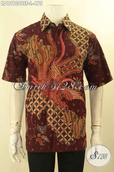 Produk Pakaian Batik Cowok Kekinian, Hem Batik Solo Lengan Pendek Motif Bagus Tulis Lasem Desain Keren Mewah Dengan Lapisan Furing, Penampilan Makin Sempurna [LD12130TSF-L]