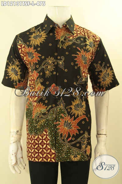 Baju Batik Atasan Pria Lengan Pendek, Kemeja Batik Halus Tulis Lasem Motif Terkini Mewah Dengan Lapisan Furing, Pilihan Terbaik Untuk Kerja Dan Kondangan [LD12131TSF-L]