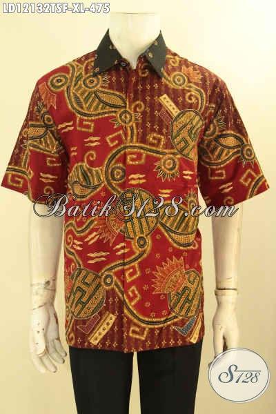 Baju Batik Kerja Pria Lengan Pendek Mewah, Busana Batik Elegan Daleman Full Furing Model Terbaru, Cocok Juga Untuk Acara Resmi [LD12132TSF-XL]