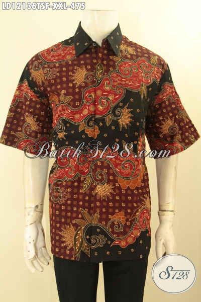 Model Busana Batik Pria Gemuk Lengan Pendek Mewah, Hem Batik Halus Yang Nyaman Di Pakai Dengan Daleman Full Furing Motif Terkini Jenis Tulis Lasem Hanya 475K [LD12136TSF-XXL]