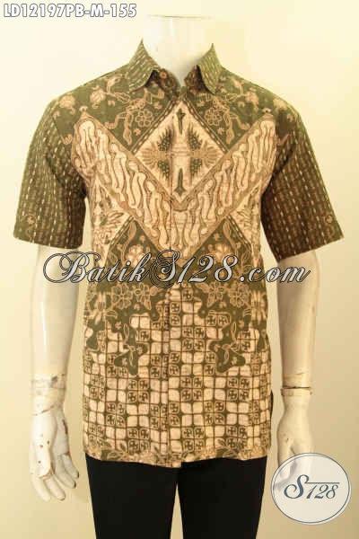 Baju Batik Pria Muda Lengan Pendek Halus Motif Keren Jenis Printing Cabut, Pakaian Batik Halus Khas Jawa Tengah Bikin Penampilan Gagah Dan Tampan [LD12197PB-M]