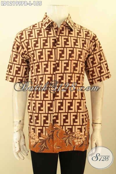Baju Batik Casual Pria Buatan Solo Asli, Kemeja Batik Lengan Pendek Keren Motif Unik Jenis Printing Cabut, Tampil Lebih Gaya Dan Kekinian [LD12199PB-L]
