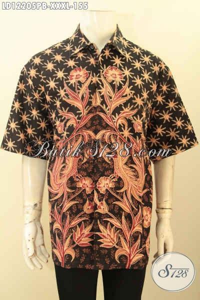 Model Baju Batik Atasan Pria Lengan Pendek Modis Berpadu Motif Nan Elegan Proses Printing Cabut, Busana Batik Halus Nyaman Di Pakai Exclusive Untuk Yang Berbadan Gemuk [LD12205PB-XXXL]