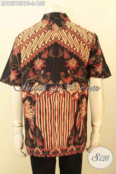 Busana Batik Solo Lengan Pendek Halus Motif Elegan Klasik Tren Masa Kini, Kemeja Batik Pria Untuk Kerja Dan Kondangan Proses Printing Cabut, Menunjang Penampilan Lebih Berkelas [LD12213PB-L]