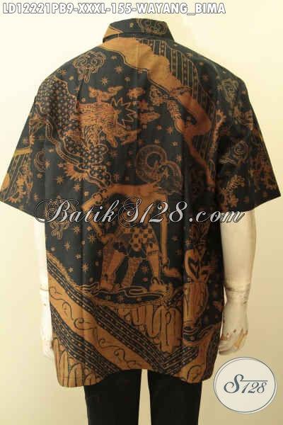 Produk Terkini Baju Batik Big Size Motif Wayang Bima, Kemeja Batik Lengan Pendek Warna Elegan Klasik Jenis Printing Cabut, Penampiloan Terlihat Gagah Menawan [LD12221PB-XXXL]