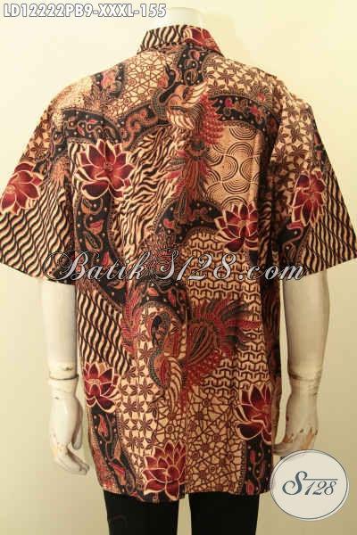 Koleksi Terkini Kemeja Batik Lengan Pendek Pria Gemuk Motif Elegan, Pakaian Batik Hem Terbaru Jenis Printing Cabut Menunjang Penampilan Lebih Sempurna [LD12222PB-XXXL]