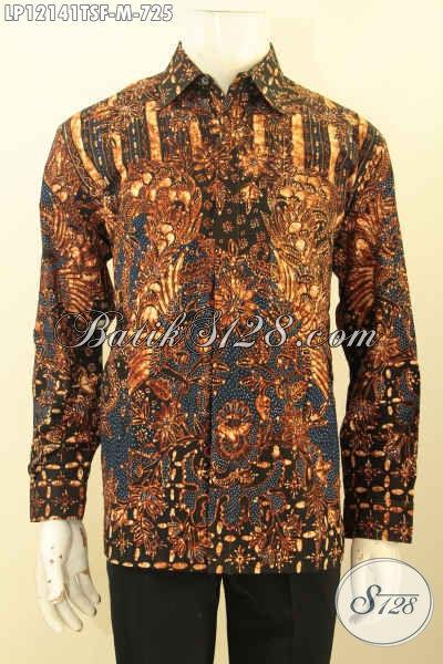 Model Baju Batik Mewah Khas Eksekutif, Busana Batik Solo Premium Lengan Panjang Full Furing Motif Terkini Nan Elegan Jenis Tulis Soga, Tampil Gagah Berkelas [LP12141TSF-M]
