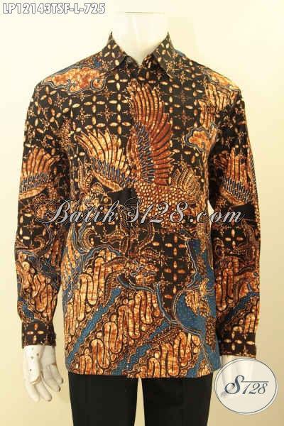 Produk Pakaian Batik Pria Terbaru, Kemeja Batik Premium Lengan Panjang Tulis Soga Pakai Furing Motif Mewah, Pilihan Sempurna Untuk Tampil Istiemwa [LP12143TSF-L]