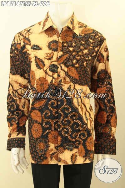 Kemeja Batik Solo Lengan Panjang Mewah Full Furing, Busana Batik Premium Kesukaan Pejabat Dan Eksekutif Motif Elegan Jenis Tulis Soga, Penampilan Gagah Berwibawa [LP12147TSF-XL]