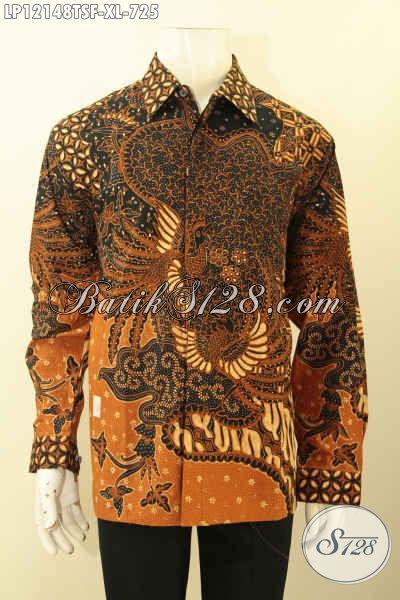 Kemeja Batik Premium Lelaki Dewasa, Busana Batik Tulis Soga Mewah Model Lengan Panjang Daleman Pakai Furing, Bisa Untuk Kondangan Maupun Seragam Kantor [LP12148TSF-XL]