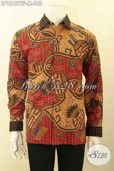 Baju Batik Pria Muda Lengan Panjang Full Furing, Baju Batik Istimewa Mewah Motif Bagus Tulis Lasem, Tampil Gagah Bak Pejabat [LP12151TF-M]