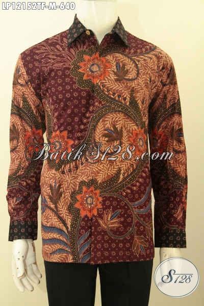 Jual Online Baju Batik Mewah Lengan Panjang Khas Jawa Tengah, Kemeja Batik Premium Full Furing Motif Bagus Jenis Tulis Lasem, Penampilan Lebih Tampan Berwibawa [LP12152TF-M]