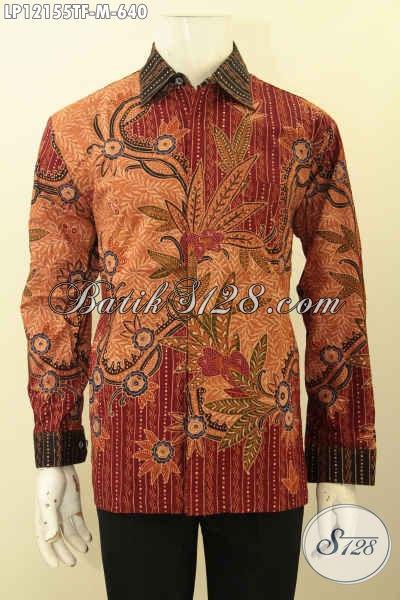 Produk Pakaian Batik Atasan Terbaru Model Lengan Panjang Motif Mewah Tulis Lasem, Busana Batik Solo Premium Daleman Full Furing, Istimewa Untuk Acara Resmi [LP12155TF-M]