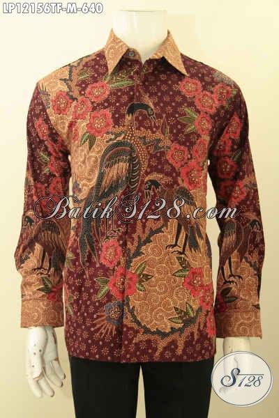 Baju Batik Pria Lengan Panjang Premium, Busana Batik Mewah Jawa Tengah Nan Istimewa Motif Elegan Jenis Tulis Lasem, Pakaian Batik Pria Muda Untuk Tampil Percaya diri [LP12156TF-M]